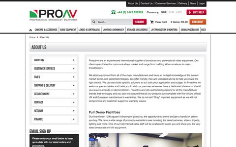 Screenshot of About Page proav.co.uk - About  Us - captured Sept. 24, 2014