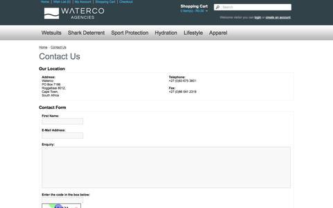Screenshot of Contact Page waterco.co.za - Contact Us - captured Feb. 13, 2016
