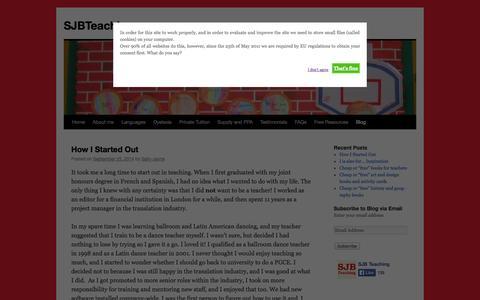 Screenshot of Blog sjbteaching.com - Blog | SJBTeaching - captured Oct. 4, 2014