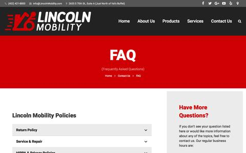 Screenshot of FAQ Page lincolnmobility.com - FAQ | Lincoln Mobility - captured July 14, 2016