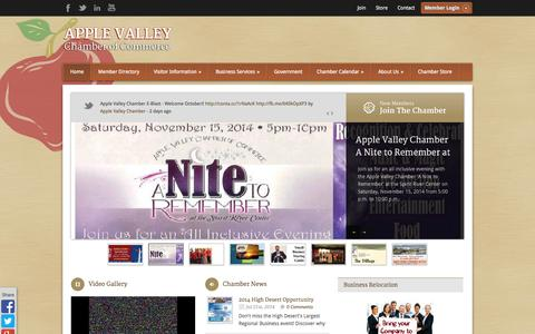 Screenshot of Home Page avchamber.org - Apple Valley Chamber of Commerce - Welcome - captured Oct. 4, 2014
