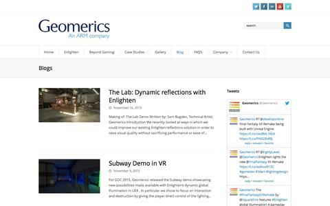 Screenshot of Blog geomerics.com - Blogs | Geomerics - captured Dec. 8, 2015