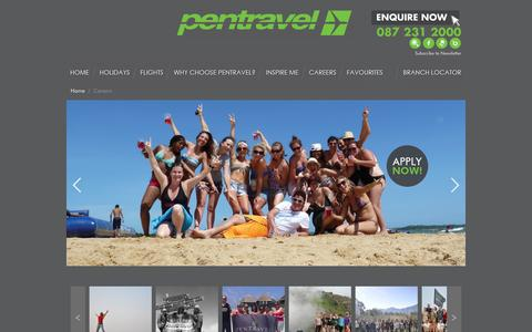 Screenshot of Jobs Page pentravel.co.za - Pentravel | Careers - captured Sept. 19, 2014