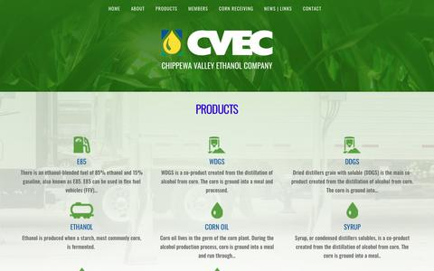 Screenshot of Products Page cvec.com - Products – CVEC - captured Sept. 27, 2018