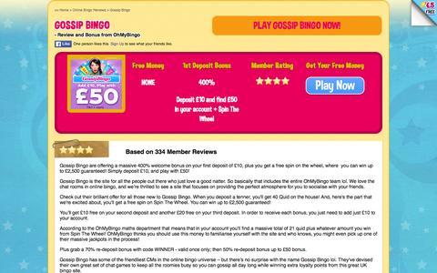 Screenshot of ohmybingo.com - Gossip Bingo| £40 Free Play + Spin The Wheel | www.ohmybingo.com - captured March 19, 2016