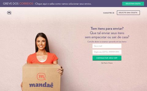 Screenshot of Home Page mandae.com.br - Mandaê | O jeito mais fácil de enviar o que quiser. - captured Sept. 16, 2015