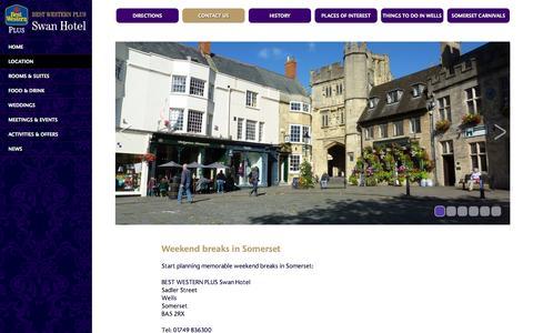 Screenshot of Contact Page swanhotelwells.co.uk - Weekend breaks in Somerset? Swan Hotel, Wells - captured Oct. 4, 2014