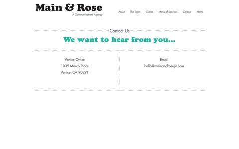 Screenshot of Contact Page mainandrosepr.com - Contact Us : Main & Rose - captured Oct. 3, 2014