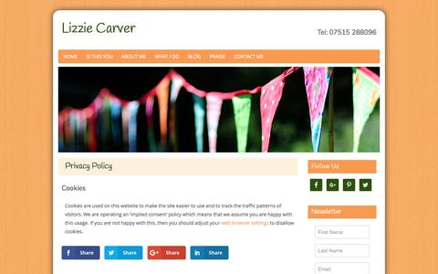 Screenshot of Privacy Page lizzie-carver.co.uk - Privacy Policy | Lizzie Carver | Whitehill, Hampshire - captured May 21, 2017