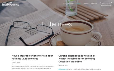 Screenshot of Press Page chronothera.com - News — Chrono Therapeutics - captured Aug. 11, 2015