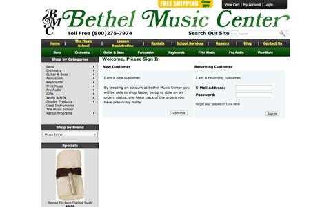 Screenshot of Login Page bmcmusicsource.com - Bethel Music Center - captured Oct. 5, 2014