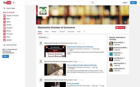 Screenshot of YouTube Page youtube.com - Waxahachie Chamber of Commerce  - YouTube - captured Nov. 5, 2014