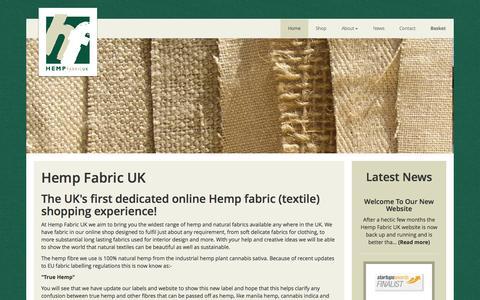 Screenshot of Home Page hempfabric.co.uk - Hemp Fabric UK - For high quality hemp based fabrics right here in the UK - captured June 18, 2015