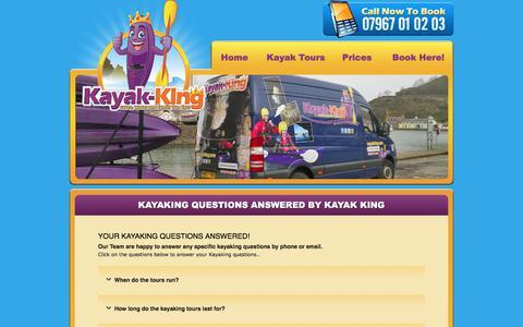 Screenshot of FAQ Page kayak-king.com - Kayaking questions answered by Kayak King - captured June 9, 2017