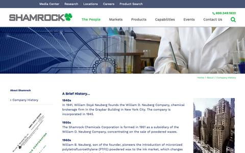 Screenshot of About Page shamrocktechnologies.com - Company History - Shamrock Technologies - captured Oct. 18, 2018