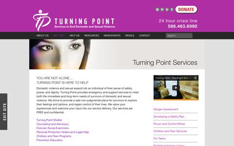 Screenshot of Services Page turningpointmacomb.org - Turning Point Services  |  Turning Point - captured Feb. 16, 2016