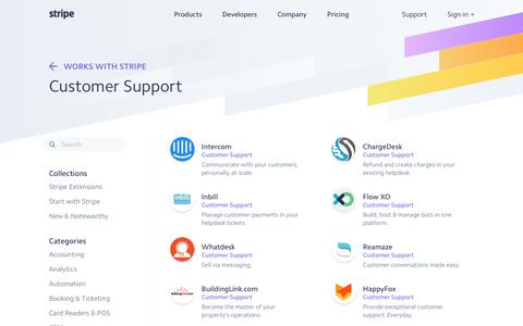 Screenshot of Support Page stripe.com - Works with Stripe:    Customer Support - captured Dec. 5, 2017