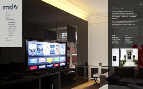 Screenshot of Case Studies Page mdfx.co.uk - Control4 Controlled smart home in Kensington, LondonMDFX - captured Oct. 3, 2014