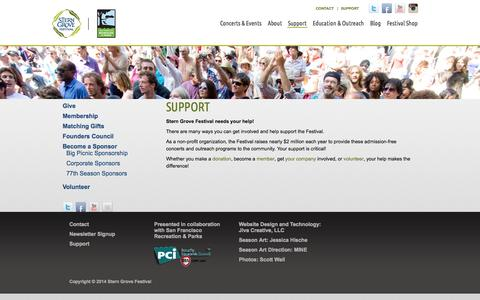 Screenshot of Support Page sterngrove.org - Stern Grove Festival | Support - captured Sept. 23, 2014