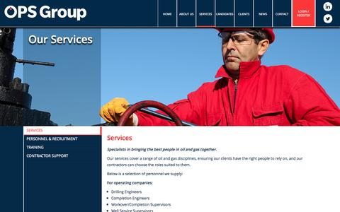 Screenshot of Services Page opsgrp.com - OPS - captured Oct. 26, 2014