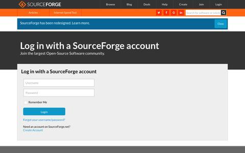 Screenshot of Login Page sourceforge.net - SourceForge.net: Log In to SourceForge.net - captured Jan. 16, 2018