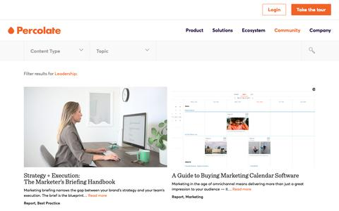 Screenshot of Team Page percolate.com - Leadership Archives | Content Marketing Resources + Insights | Percolate - captured Feb. 11, 2019