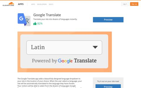 Google Translate - Cloudflare Apps