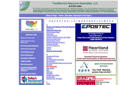 Screenshot of Site Map Page foodserviceresource.com - Restaurant Resource | Site Map - captured Oct. 6, 2014