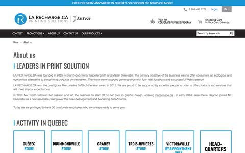 Screenshot of About Page larecharge.ca - About us | La Recharge.ca - captured July 7, 2017