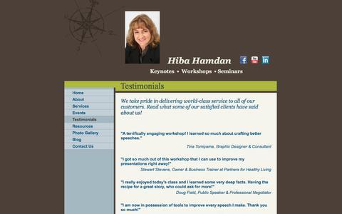Screenshot of Testimonials Page hibahamdan.com - Hiba Hamdan - Testimonials - captured Jan. 29, 2016