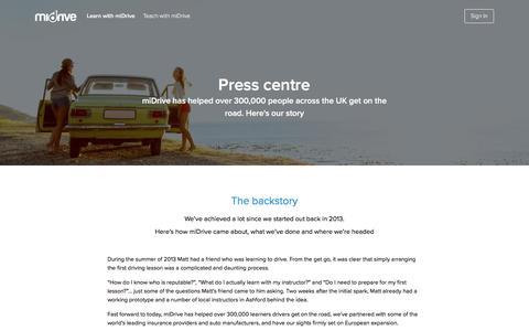 Screenshot of Press Page midrive.com - Press centre - miDrive - captured Sept. 27, 2016