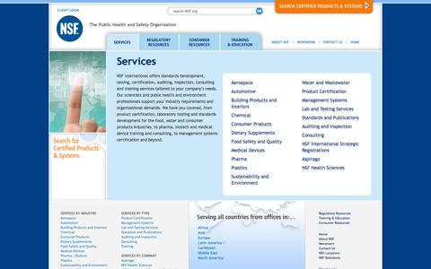 Screenshot of Services Page nsf.org - Services - NSF International - captured Sept. 25, 2014