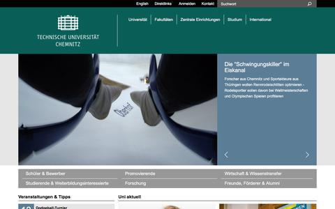 Screenshot of Home Page tu-chemnitz.de - Technische Universität Chemnitz - captured Jan. 13, 2016
