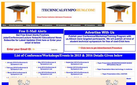 Screenshot of Home Page technicalsymposium.com - Technical symposium. - captured Oct. 9, 2015