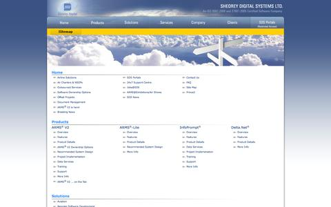 Screenshot of Site Map Page sds.co.in - Sheorey Digital Systems Ltd. - captured Oct. 3, 2014