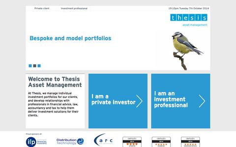Screenshot of Jobs Page thesis-plc.com - Welcome to Thesis Asset Management » Thesis Asset Management - captured Oct. 7, 2014
