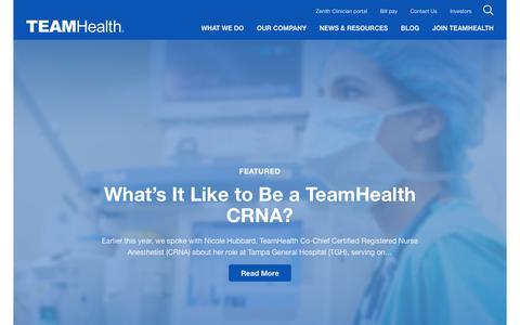 Screenshot of Blog teamhealth.com - TeamHealth Blog | Resources for Physicians & Hospital Systems - captured Nov. 27, 2019