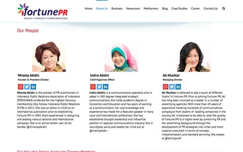Screenshot of Team Page fortunepr.com - Our People | Fortune PR - Jakarta, Singapore | Indonesia Public Relations and Strategic Communications Firm - captured Jan. 8, 2016