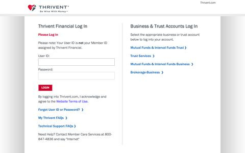 Screenshot of Login Page thrivent.com - Thrivent Financial - captured April 18, 2019