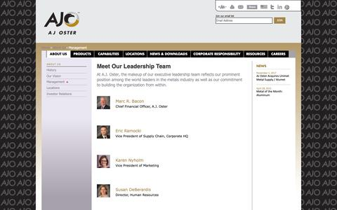 Screenshot of Team Page ajoster.com - Metal Service Center | Metals Supplier | Management Team - A.J. Oster - captured Oct. 18, 2018