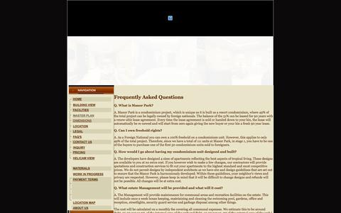 Screenshot of FAQ Page manorparkhuahin.com - FAQ's - captured Oct. 4, 2014