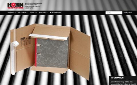 Screenshot of Home Page horn-verpackung.de - HORN Verpackung GmbH – Ihr Spezialist für Verpackung, Buchverpackung, Versandtaschen, Wellpappentaschen, Stretchfolien, Faltkartons, Kartonagen, Wellpappe, Klebänder, Papiere, Pappen, Buchverpackungen - Horn Verpackung GmbH - captured Oct. 19, 2015