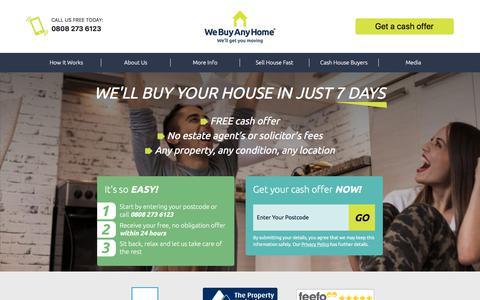 Screenshot of Home Page webuyanyhome.com - We Buy Any House | Buy My House | We Buy Any Home - captured Sept. 20, 2018