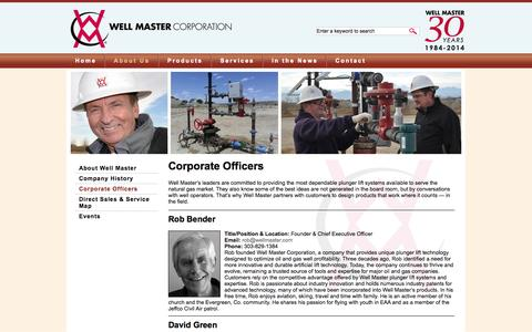 Screenshot of Team Page wellmaster.com - Corporate Officers | Well Master Corporation - captured Oct. 7, 2014