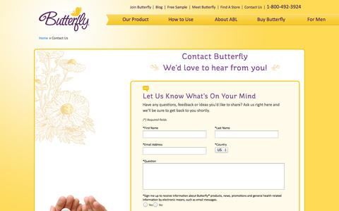 Screenshot of Contact Page butterfly.com - Butterfly ® - Contact Us | Butterfly Body Liners - captured Nov. 3, 2014