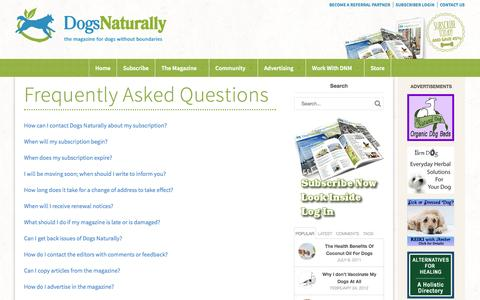 Screenshot of FAQ Page dogsnaturallymagazine.com - Frequently Asked Questions | Dogs Naturally Magazine - captured Sept. 19, 2014