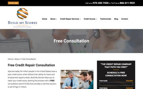 Screenshot of Pricing Page buildmyscores.com - FREE Credit Repair Consultation | $150 OFF | Build My Scores - captured Aug. 4, 2018