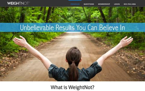 Screenshot of Home Page weightnot.com - WeightNot | Unbelievable Results You Can Believe In - captured Jan. 10, 2016