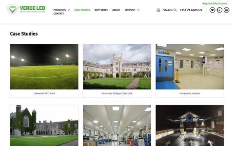 Screenshot of Case Studies Page verdeled.com - Case Studies | Verde LED Verde LED - captured Oct. 20, 2018