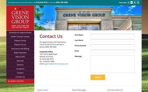 Screenshot of Contact Page grenevisiongroup.com - Contact Grene Vision Group Wichita   Andover Optometrist, Eye Care, Sunglasses, Eye Surgery Augusta, El Dorado, Hutchinson & Derby KS - Grene Vision Group - captured May 25, 2017